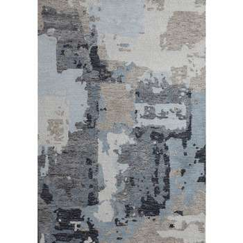 Blue Hand-made Weathered Design Rug